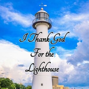 Pillow Cover- New- Christian -Thank God Lighthouse